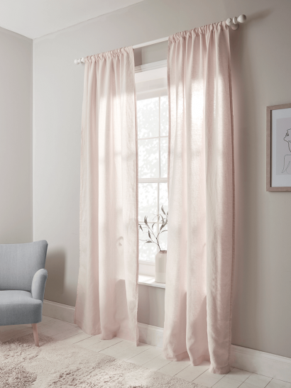 Washed Linen Curtain Pair - Soft Blush
