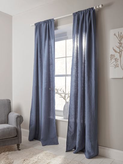 Washed Linen Curtain Pair - Indigo