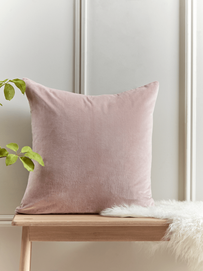 NEW Large Velvet & Linen Cushion - Dusky Pink