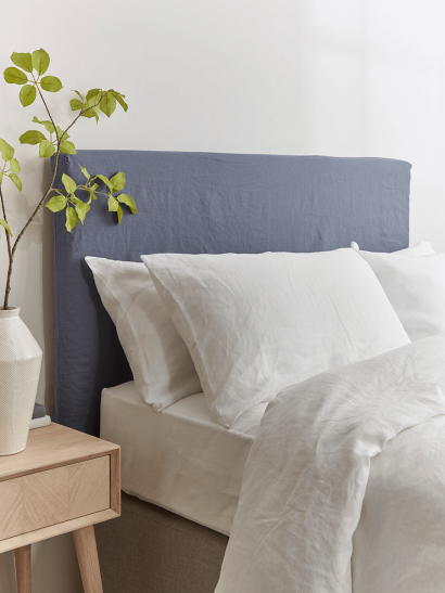 Washed Linen Replacement Headboard Cover - Indigo