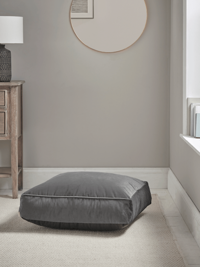Velvet Square Floor Cushion - Smoke Grey
