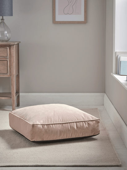 Velvet Square Floor Cushion - Blush