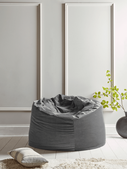 Velvet Oversized Beanbag - Smoke Grey