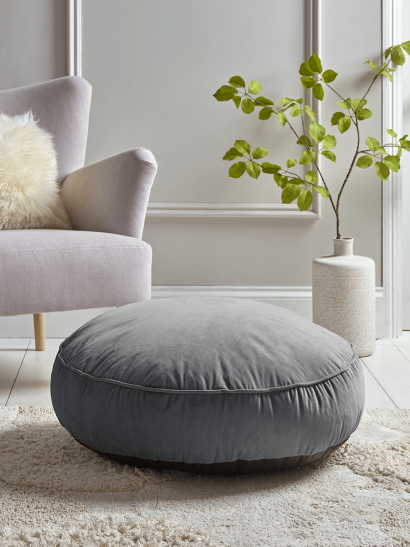Velvet Round Floor Cushion - Smoke Grey