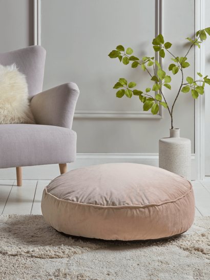 Velvet Round Floor Cushion - Blush