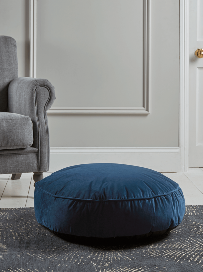 Velvet Round Floor Cushion - Navy