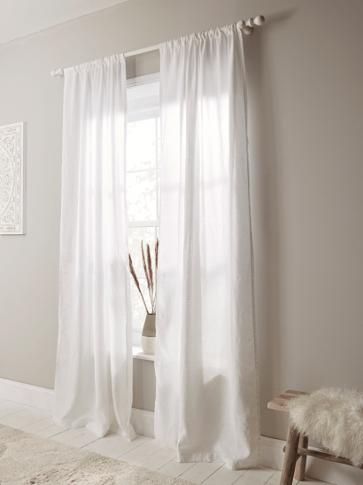 Washed Linen Curtain Pair - White