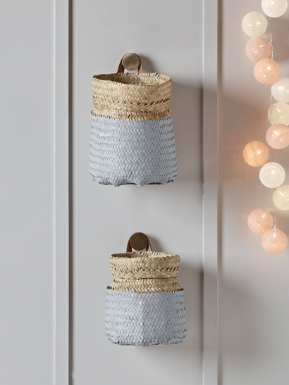 Two Dipped Seagrass Baskets - Grey