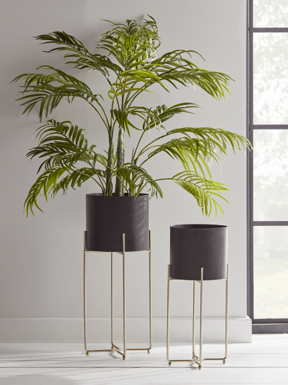 NEW Two Black & Brass Standing Planters