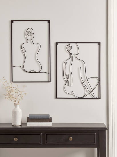 NEW Two Abstract Nude Wire Panels