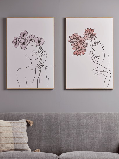 NEW Two Abstract Flora Faces Panels