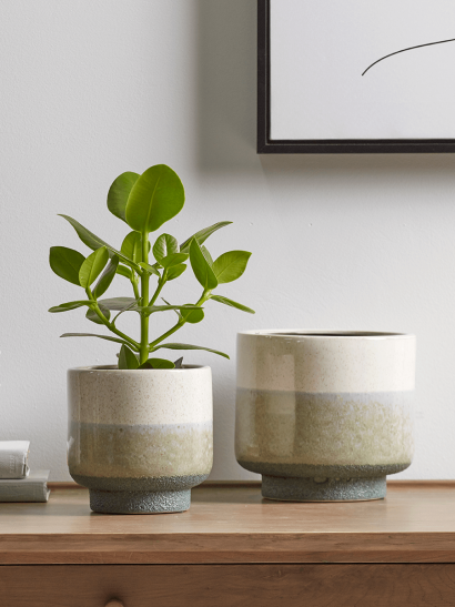 NEW Two Dipped Planters - Natural & Green
