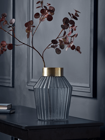 NEW Gold Rim Textured Glass Vase