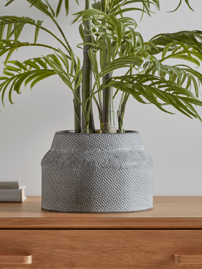 NEW Tapered Grey Metal Planter
