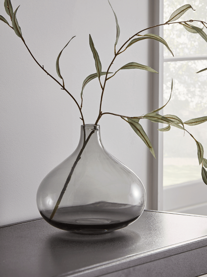NEW Grey Glass Tapered Vase