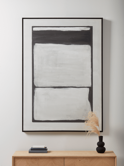 NEW Monochrome Blocks Abstract Framed Canvas