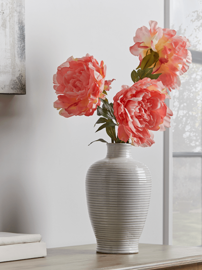 NEW Three Faux PeonyStems - Coral