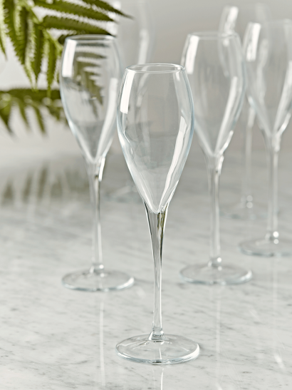 NEW Six Teardrop Champagne Flutes