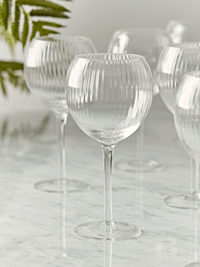 NEW Six Fluted Wine Glasses - Clear Glass