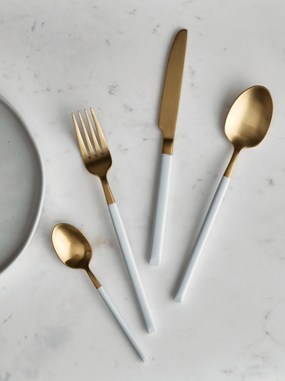 NEW White & Brushed Gold Cutlery Set