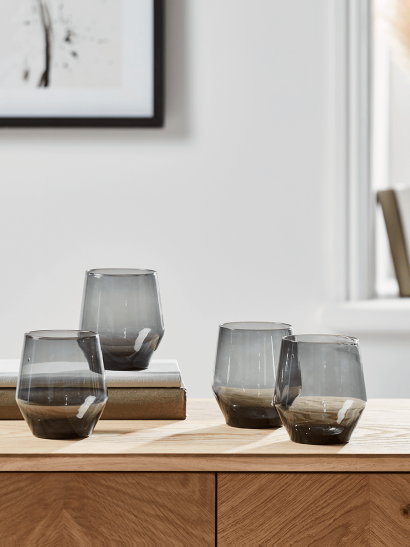 NEW Four Ombre Smoked Glass Tumblers