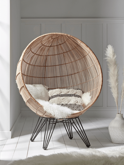 NEW Flat Rattan Cocoon Chair