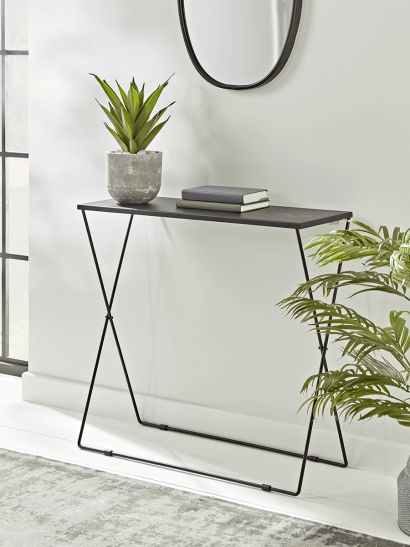 NEW Slim Black Folding Console Table
