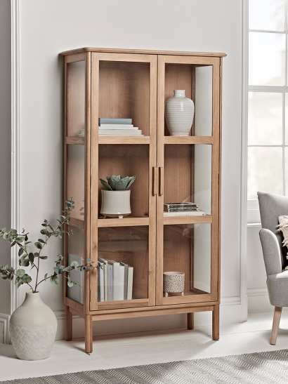NEW Oslo Oak & Glass Cabinet