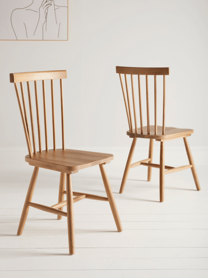 NEW Two Oslo Oak Dining Chairs