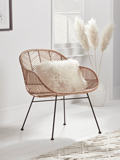 NEW Chevron Flat Rattan Occasional Chair