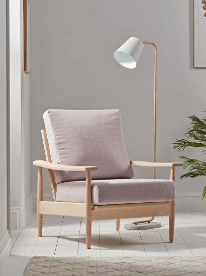 NEW  Beech Spindleback Armchair - Blush