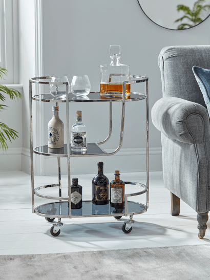 Three Tier Drinks Trolley - Silver