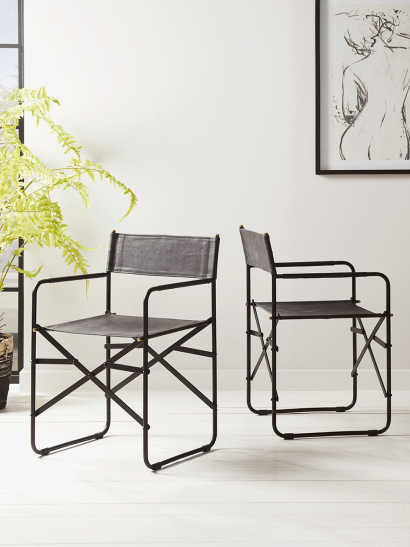Two Folding Leather Dining Chairs