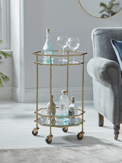 Octagonal Drinks Trolley - Gold