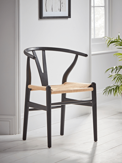 NEW Elm Bow Back Dining Chair - Black
