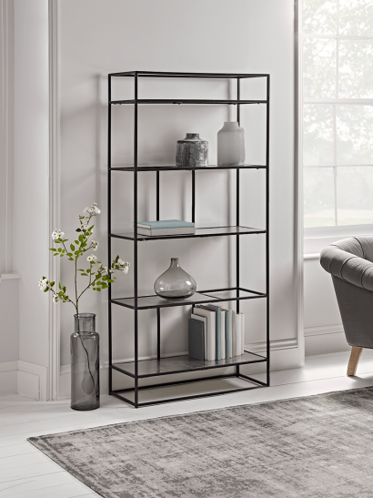 NEW Textured Topped Metal Shelf Unit - Burnished Silver