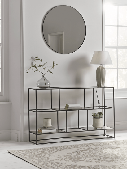 NEW Textured Topped Metal Sideboard - Burnished Silver