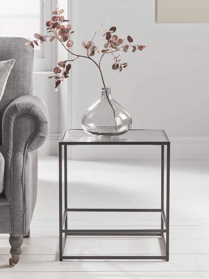 NEW Textured Topped Metal Side Table - Burnished Silver