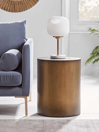 NEW Burnished Gold Drum Side Table