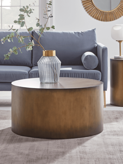 NEW Burnished Gold Drum Coffee Table