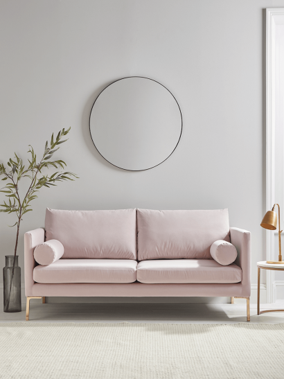 NEW Rene Velvet Sofa - Soft Blush
