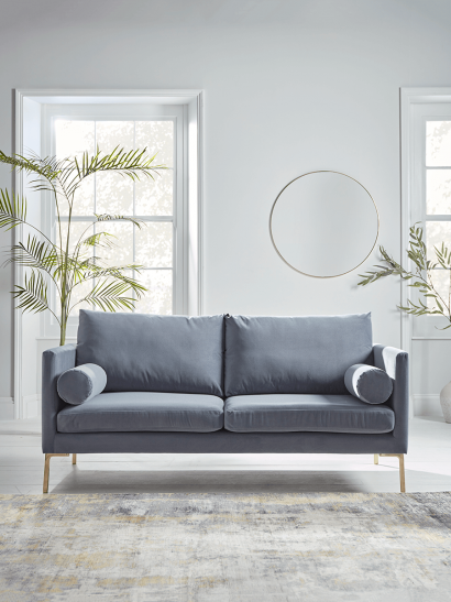 NEW Rene Velvet Sofa - Blue Grey