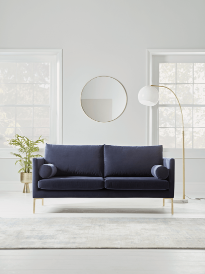 NEW Rene Velvet Sofa - Navy