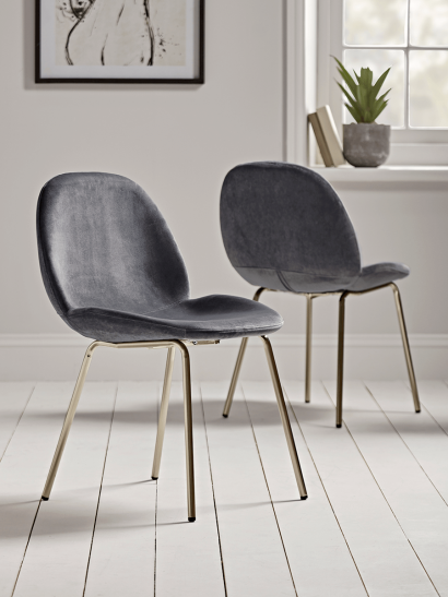NEW Two Vida Velvet Dining Chairs - Charcoal