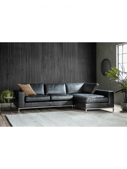 NEW Forte Black Leather Corner Chaise Sofa