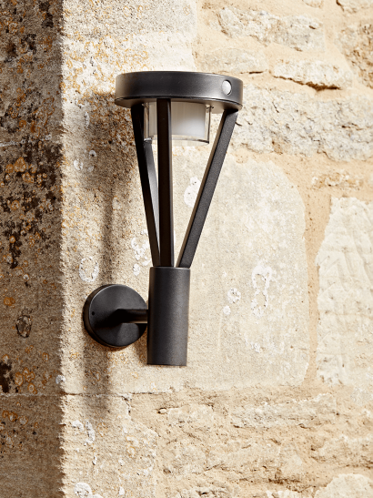 NEW Solar Tall Black Sensor Wall Light