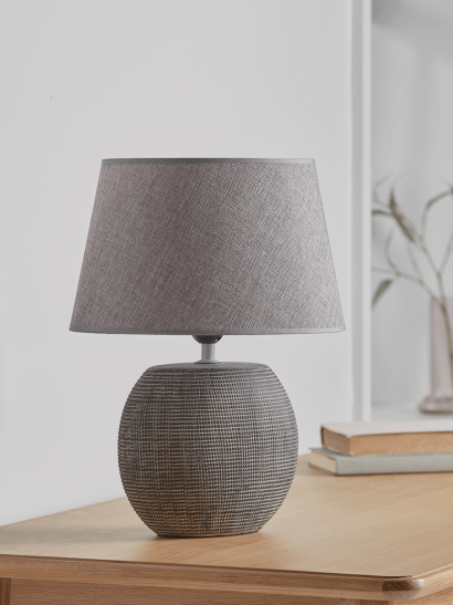 NEW Grey Textured Bedside Lamp - Grid