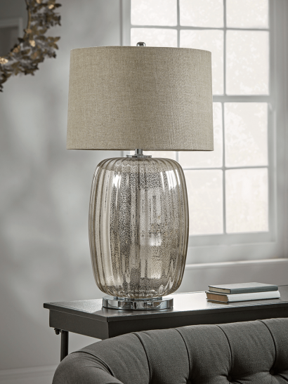 NEW Oversized Mercuried Glass Table Lamp
