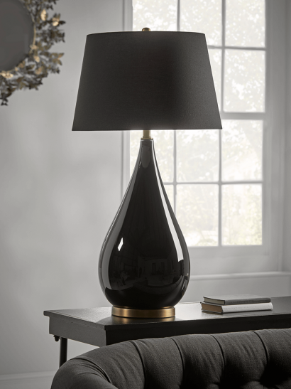 NEW Oversized Black Glass Teardrop Table Lamp