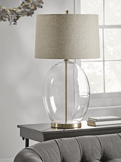 NEW Brushed Brass & Glass Table Lamp